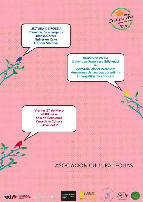 Begonya Pozo y Joaquín Juan Penalva participan este viernes en un recital de poesía en l'Alfàs del Pi