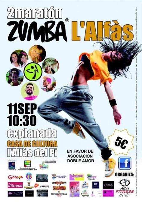 El Domingo 11 de Septiembre se celebrará la 2ª Maratón de Zumba en l'Alfàs del Pi a beneficio del centro Doble Amor.