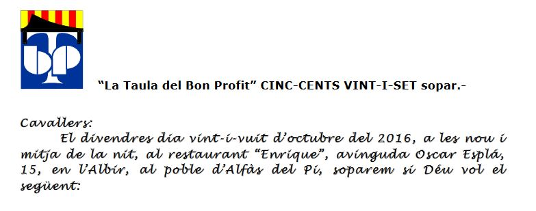 La Taula del bon profit celebrará su 527ª reunión el próximo viernes en l'Alfàs del Pi