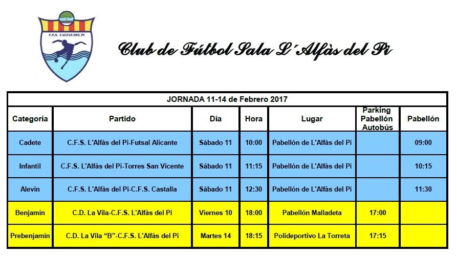 Partidos fútbol sala de los equipos de l'Alfàs del Pi el fin de semana del 11 y 12 de febrero.