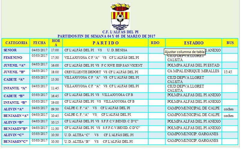 Partidos de Fútbol que  juegan este fin de semana los equipos de l'Alfàs del Pi