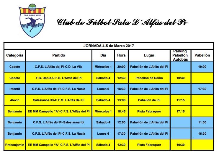 Partidos de Fútbol Sala que este fin de semana juegan los equipos de l'Alfàs del Pi