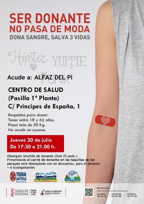 Campaña de donación de sangre este jueves en el Centro de Salud de l'Alfàs del Pi