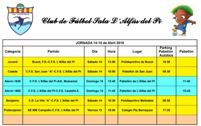 Partidos de fútbol sala, fin de semana 14 y 15 de abril en l'Alfàs del Pi
