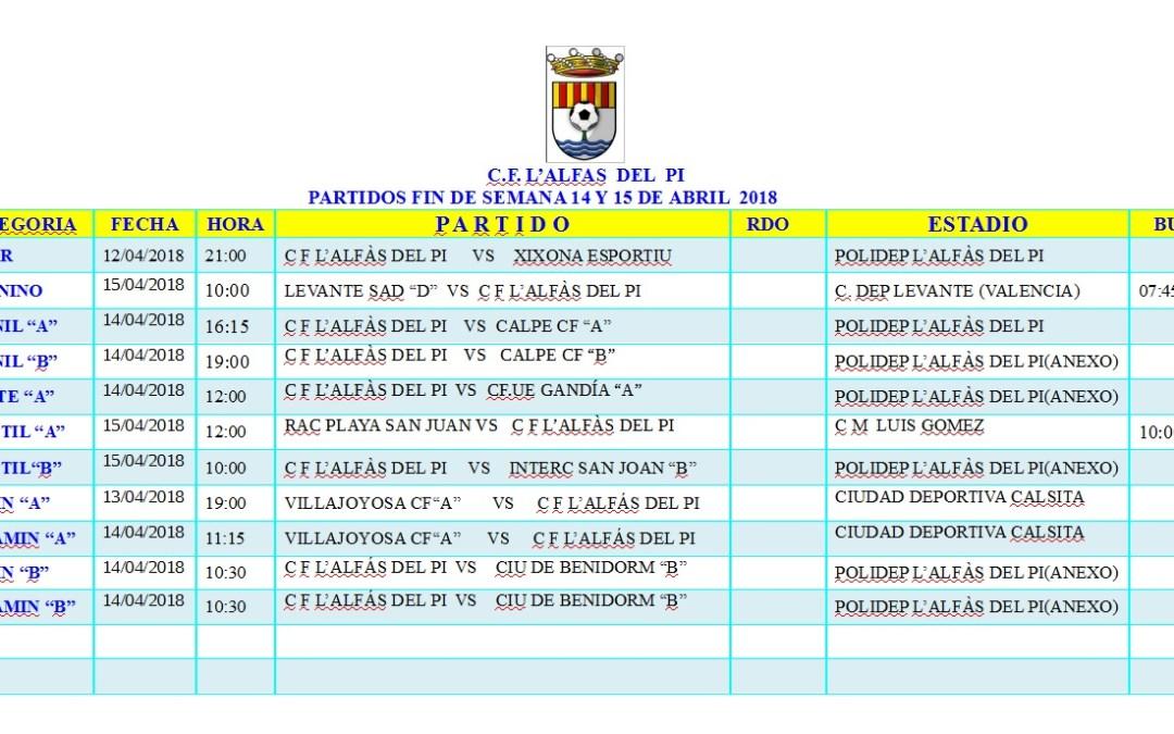 Partidos de fútbol fin de semana 14 y 15 de abril en l'Alfàs del Pi