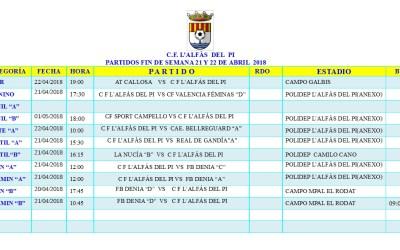 Partidos de fútbol en l'Alfàs del Pi este fin de semana