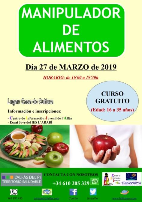 Juventud organiza una nueva edición del curso de manipulador de alimentos