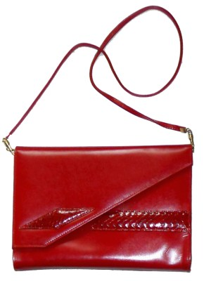 Vintage Eros England red leather and snakeskin handbag