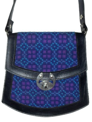 Blue and Purple tapestry front shoulder bag