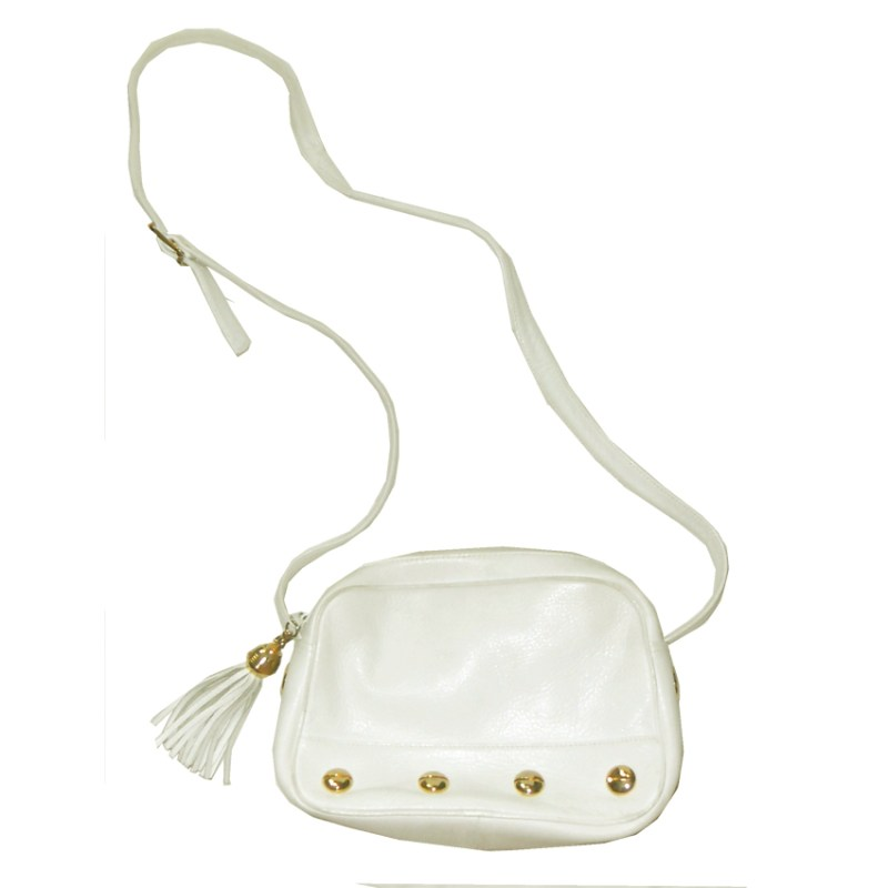Retro white leather shoulder bag
