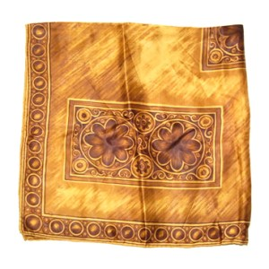 Vintage water repellent rayon brown and gold scarf