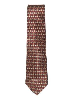 Valentino brown and gold design silk satin tie