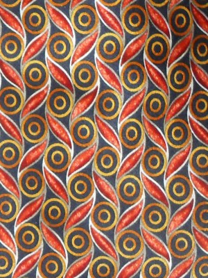 Valentino Italy silk satin tie with a graphic design in orange and gold on a dark backgrou