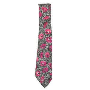 Propeller Cravatte British silk tie with bright pink flowers on a black and white background