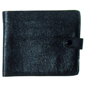 Keystone black fold over grained leather vintage wallet
