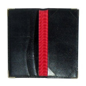 Red moiré lined black leather wallet