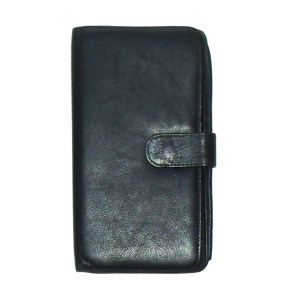 Soft black leather retro wallet