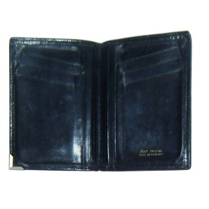 Black bifold wallet with silvertone metal corner