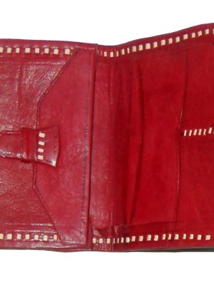 Red tooled leather small bifold wallet