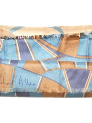 Blue and cream long Richard Allan silk scarf