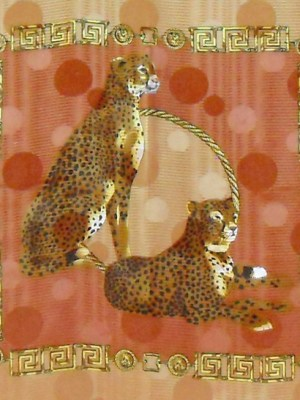 Textured silk scarf with a stunning design of two cheetahs