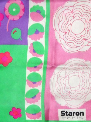Brightly coloured floral silk scarf by Staron Paris
