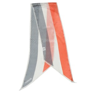 Elegant long textured silk scarf by Cacharel for Glentex in peach grey and white