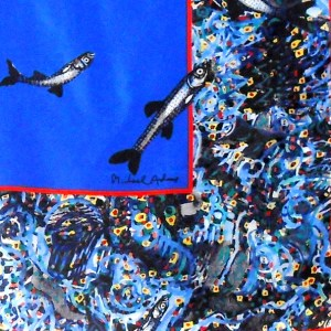Michael Adams fish design silk scarf for Seychelle Airlines