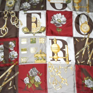 Pictorial silk scarf