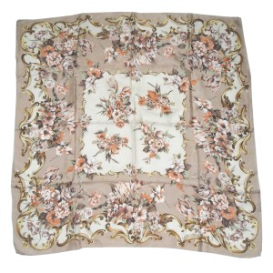 Laura Ashley silk scarf with a floral design on a pale brown background