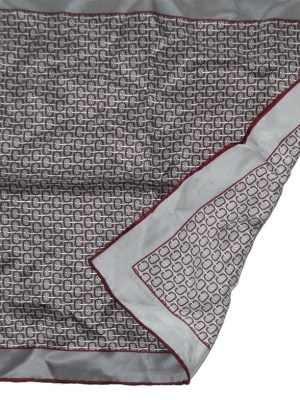Ermenegildo Zegna silver grey and maroon silk pocket square