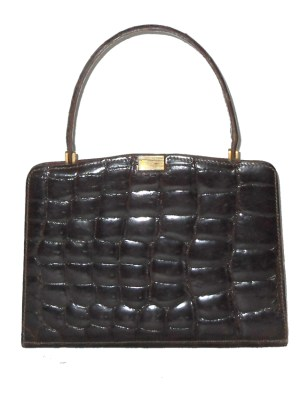 Triomphe made in France for Macy's New York crocodile skin 1960s handbag