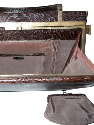 Rayne dark brown lizard skin framed handbag and purse