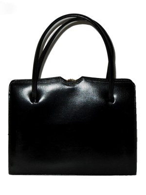 Middx black leather framed handbag