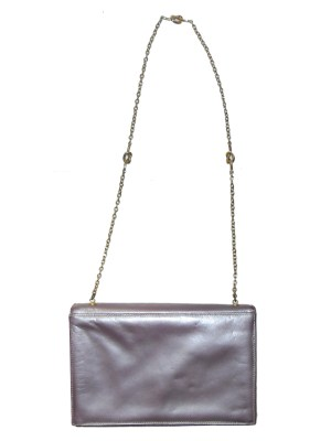Allendé of Mayfair metallic mauve leather handbag