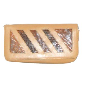Angela tan leather and snakeskin bag