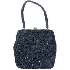 Dark blue beaded evening bag