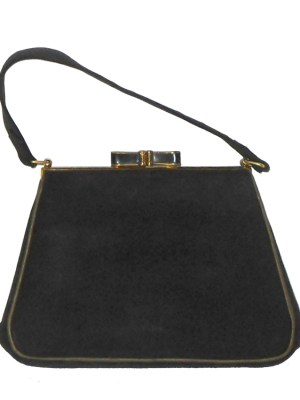 Small black grosgrain framed handbag