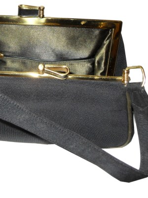 Small black grosgrain framed handbag