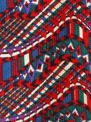 Missoni Italy silk print tie in red blue green and white