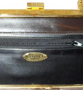 Cosci hand made in Italy dark brown leather framed handbag