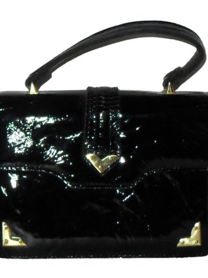 Suzy Smith England small black patent leather handbag