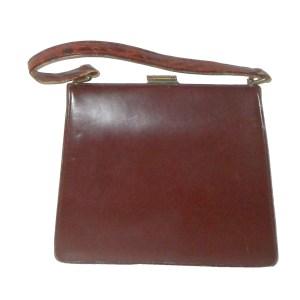 Vintage Bagcraft of London croc front brown leather framed handbag