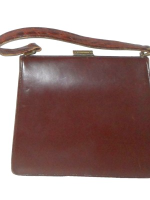Vintage Bagcraft of London croc front brown leather framed handbag