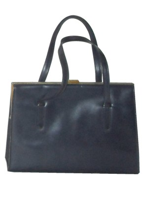 Large navy blue framed handbag