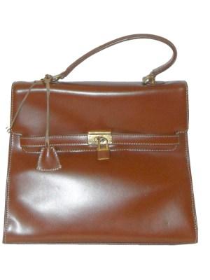 Retro Jane Shilton brown leather handbag