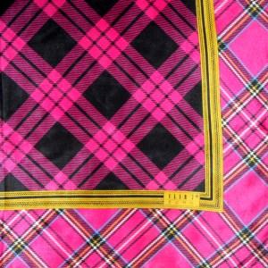 Pink plaid design silk scarf