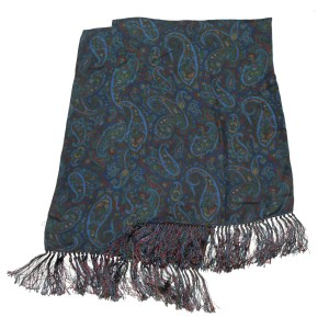 Long blue silk scarf with a paisley design