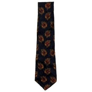 Dark blue bckground jacquard silk tie by Liberty