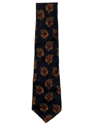 Dark blue bckground jacquard silk tie by Liberty